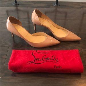 Christian Louboutin patent nude Iriza heels shoes